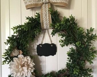 Boxwood & Grapevine Chalkboard Wreath