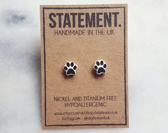 Animal Paw Print Stud Earrings - 1 pair