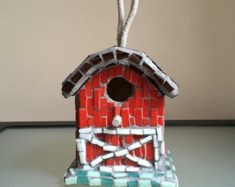 Small Mosaic Barn Birdhouse