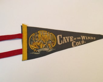 Cave of the Winds, Colorado, 1960s Felt Pennant, Temple of Silence - Vintage Pennant
