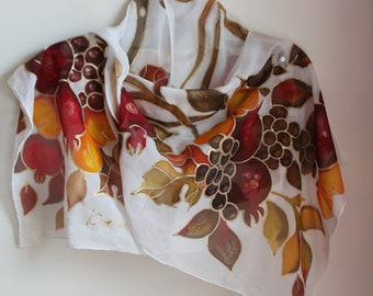 White scarf,Painted scarf,Gift for her,Colorful scarf,Red ornage green scarf,Fall scarf,Chiffon scarf,Hand painted scarf,Pomegranate scarf