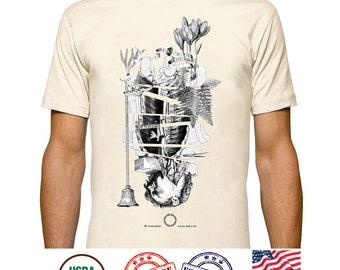 Medical art Tee, Anatomy Illustration tshirt, Creepy beauty, Postmodern collage Art, Ferns and Flowers, Organic tees tops, Gay art T Shirt