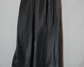 60's NOS Vintage Saramae Black Long Slip with Slit Size XSmall-Small | Adjustable Length | Maxi Midi Length Just Cut Length Needed