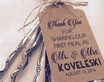 Thank You For Sharing Our First Meal Silverware Tags, Wedding Thank You Tags, Table Decor, Set of 12