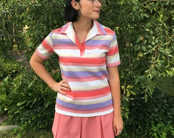 SALE! Vintage 1970s PYKETTES Polo Collared Polyester Striped Shirt Size M 10