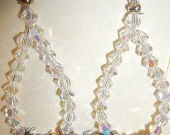 Teardrop Hoop Earrings w/Swarovski Crystals