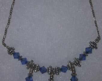 Sterling Silver Necklace w/Swarovski Crystals