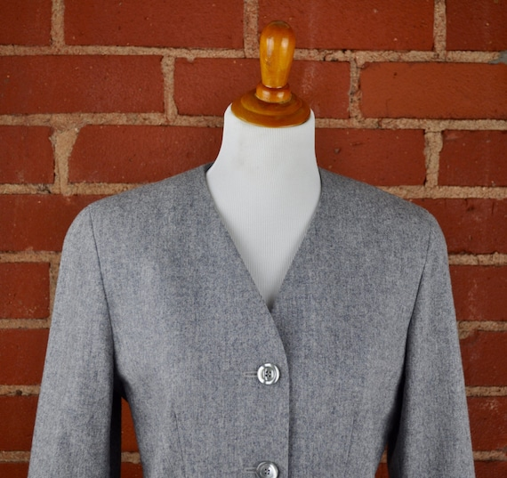 Women's Gray Pendleton 100% Virgin Wool Blazer Sz 8 Petite