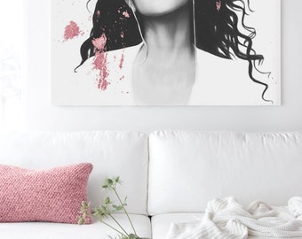 Rose Gold Decor - Hand Drawn Aaliyah - Chic Fashion Canvas Fine Art Giclée Print - Celebrity Singer Princess of R&B Baby Girl
