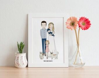 printable poster, kids wall art, family portrait, drawing, nursery wall art