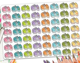 56 Colorful Running Planner Stickers | Running Stickers | Retro Running Shoe Sneaker Stickers | Fits Erin Condren and Other Planners