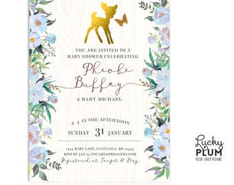 Deer Baby Shower Invitation / Bambi Baby Shower Invitation / Deer First Birthday Invite / Woodland Forest Invite / Winter Baby Shower Invite
