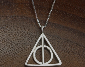 Handmade Sterling Silver Deathly Hallows Harry Potter Pendant