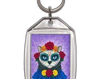 Day of the Dead Cat Keychain Mexican Sugar Skull Fantasy Cat Art Keychain Keyring Gifts For Cat Lovers
