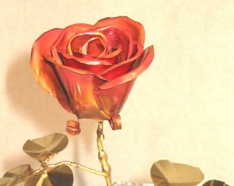 Authentic Flamed Colored Copper Rose with Brass Leaves