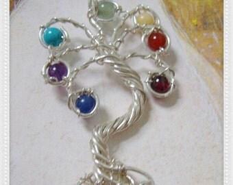 Chakra Tree of Life Pendant, Sterling Silver Pendant, Chakra Pendant, Gemstone Necklace, Rainbow Necklaces, Seven Chakra Pendant