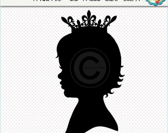Toddler Girl With Crown Silhouette, Silhouettes Clipart, Children Clip Art , Silhouette, Children Silhouettes, Digital Scrapbooking, Clipart