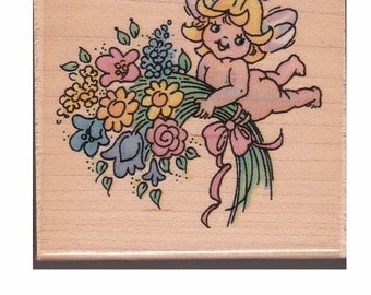 CHUBBY FAIRIES - Blossom's Bouquet - Vintage 1994 Stampendous Rubber Stamp - OOP - New Unused - Whimsical Little Summer Time Fairies
