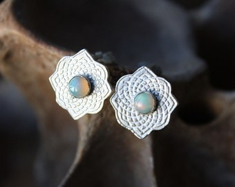 Opal Earrings, white opal etched sterling silver post earrings, sacred geometry, moroccan design gift for wife