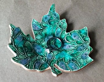 Ceramic Leaf Ring Dish Peacock Green with gold edging