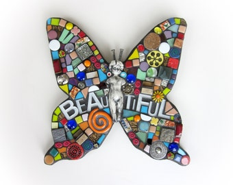 Mosaic Butterfly. (Mixed Media Mosaic Assemblage Wall Art Original Handmade Piece by Shawn DuBois)