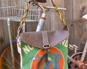 Northland Seeds -Minnesota - Small Leather Messenger - Americana Canvas Leather Handbag- vintage fabric... Selina Vaughan Studios