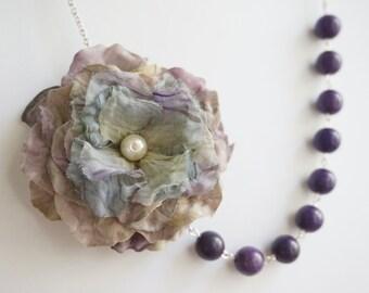 Statement Necklace,Tie Dye Necklace,Purple Necklace,Bridesmaid Jewelry Set,Flower Necklace,Fabric Flower Necklace,Bridesmaid Gift,Gift