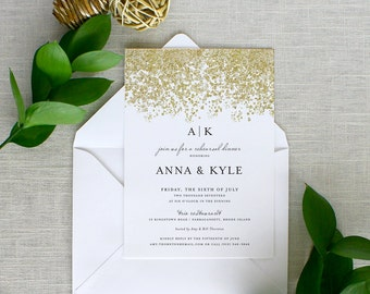 Gold Glitter Invitations, Gold Glitter Rehearsal Dinner Invitations, Black and Gold Rehearsal Dinner Invitations, Printed Invitations