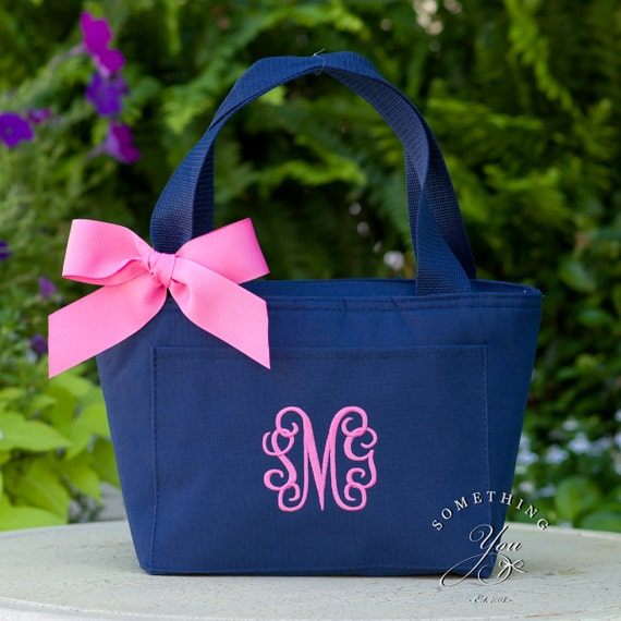 Monogrammed Lunchbox Cooler School Personalized Triple Initials Hot Pink Navy Bag Insulated Lunchbag teacher kids childrens