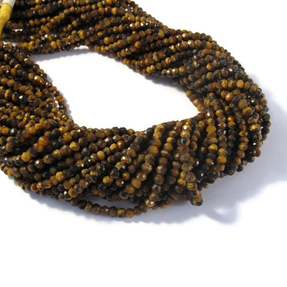 Tigers Eye Rondelles, 13 Inch Strand, Faceted Gemstone Beads, Necklace Rondelles, 3.5mm Tiger Eye Beads, Jewelry Supplies (R-Te1)