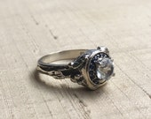 White Topaz and Blue Sapphires- Woodland Vine Halo Ring in Sterling Silver