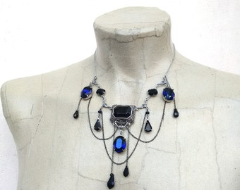 Gothic Necklace Gothic Jewelry Vampire Necklace Blue Indigo Swarovski Bib Necklace and Draping Chains Silver Filigree Necklace