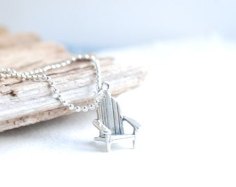 Camper Necklace, Dock Chair Necklace, Gift for Camper, Lakehouse, At the Lake, Sterling Silver Charm Necklace, Fun Jewelry