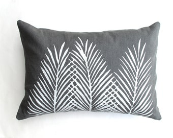 Grey White Nipa Palm Leaf Throw Pillow - Square - Boho Beach Decor - Palm Leaf Decor - Palm Trees - Tropical Print Pillow - Safari