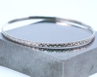 Sterling Silver Bangle Bracelet / Art Deco Style Silver Bangle Bracelet / Silver Bangle Made to Order /
