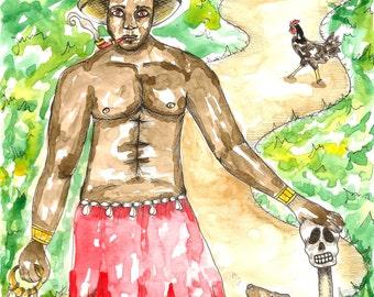 Papa Legba Art Voodoo Art, Hoodoo Eleggua Art Pagan Art Spiritual Art Voodoo Print Santeria Altar Art Voodoo Altar