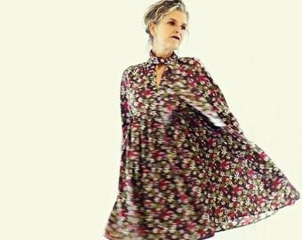 Liberty Silk Crepe Plum Flowery Short Dress