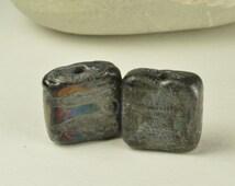 Bead Pair - Earring Pair - Handmade Lampwork Beads - Silver Black Tile Beads - SRA - CPteam