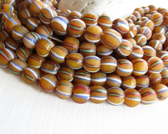 round yellow lampwork beads, striped glass beads, matte Opaque yellow, boho  ethnic beads Indonesia  10 to 11mm   ( 8 beads  )  6bb8-1