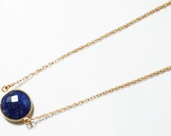Precious Sapphire Necklace 14k Gold Bezel Genuine Sapphire Necklace Real Sapphire Adjustable Chain September Birthstone BZ-N-152.2-Sapph/g