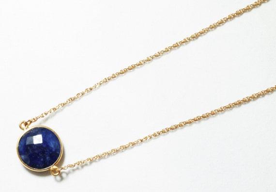 Precious Sapphire Necklace 14k Gold Bezel Genuine Sapphire Necklace Real Sapphire Necklace September Birthstone BZ-N-152-Sapph/g