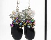 Black Beaded Crystal Cluster Earrings, Black and White Beaded Cluster Earrings, Black Rhinestone Dangle Earrings, Black Ombre Earrings