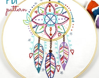 Dreamcatcher Hand Embroidery PDF Pattern Boho Indian Summer