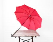 Vintage Red 1950s Umbrella - Curved Hook Handle - 50s Red Parasol - Walking Stick Cane Umbrella - Hand Painted Handle - Steampunk