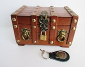 Wood Treasure Chest Red Jewelry Box Medieval Lions Head Steampunk Pirates Box