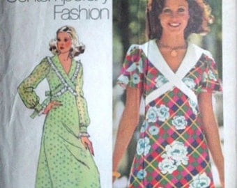 Vintage 70's Simplicity 5430 Sewing Pattern, Misses' Dress in Two Lengths Mini and Maxi, Retro Mod, Size 10, 32 1/2 Bust, 1970's Fashion