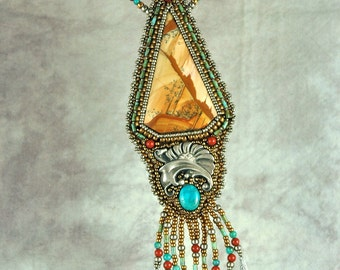 Necklace, bead embroidery, beaded, picture jasper, vintage silver, turquoise, beaded necklace