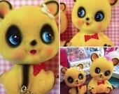 Vintage Japan Ceramic Sweet Kawaii Flocked Yellow Bear Couple Money Bank with Chain Mint