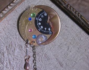 ARITSAN Jewelry ANTIQUE pocket watch parts Moon jewels OOAK brooch Pin steampunk