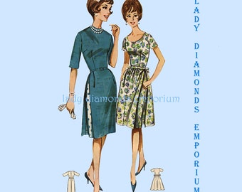 Butterick 2246 Womens 1960's Sheath Dress with Attached Slim or Gathered Overskirt size 12 Bust 32 Vintage Sewing Pattern